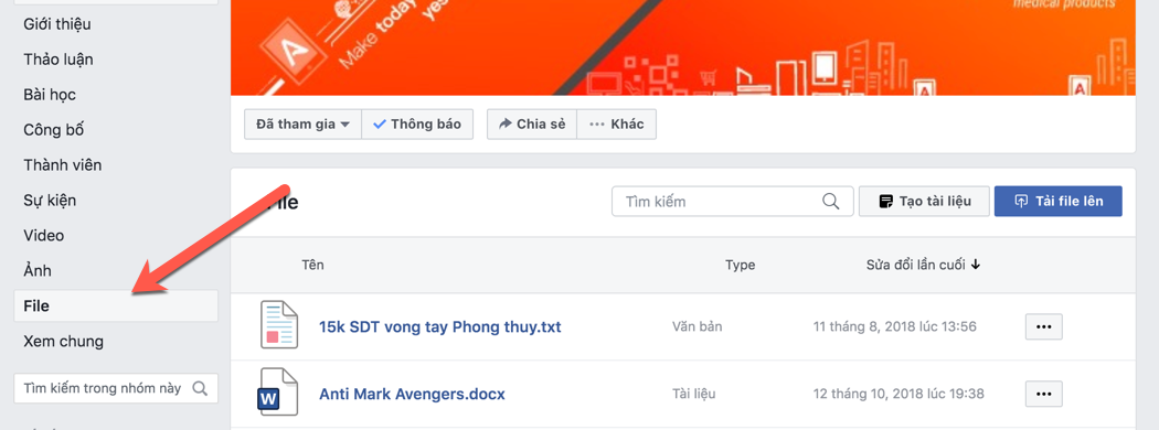 File của group facebook